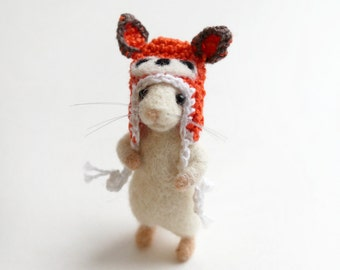Little mouse in a crochet fox hat