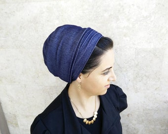 Blue Jeans stretch, head covering, Jewish Tichels, by oshratdesignz