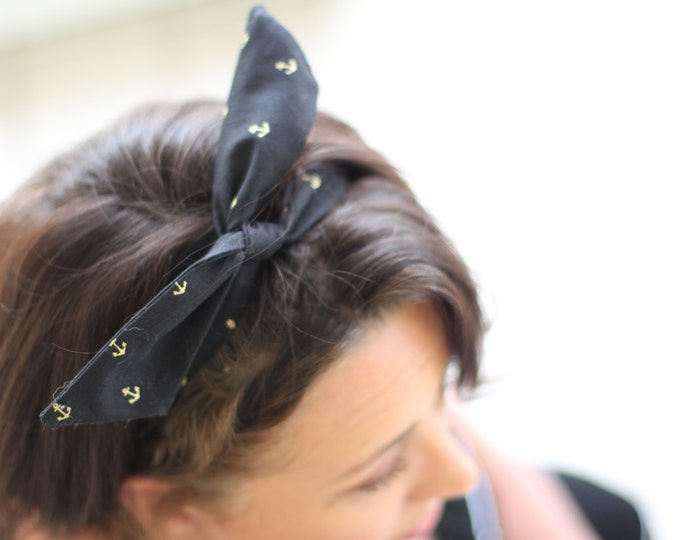 Headband Gold Anchors Dolly Bow Wire Headband Nautical Rockabilly Pin Up Hair 40s 50s Flexible Bendable Accessory for Teens Women Girls