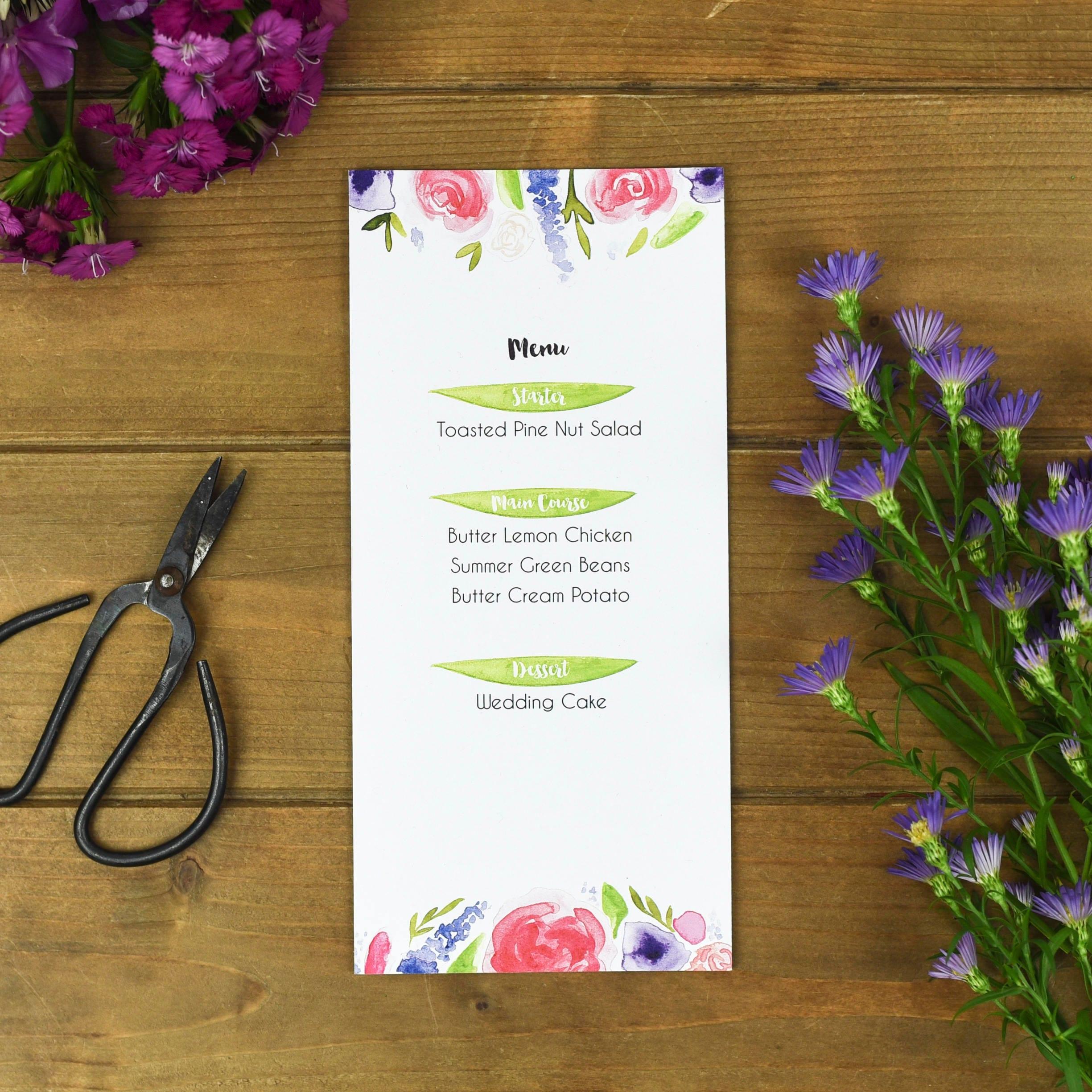 bright floral wedding menu cards rustic wedding menu leaves menu