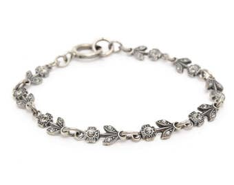 Flower Bracelet of Swarovski Crystals 7.5""