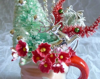 SALE Vintage Christmas Decoration Bottle Brush Tree Reindeer in Santa Mug Winter Wonderland Mercury Glass