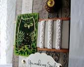 You make me smile, Friendship card, Best friend OWL card, Smiling Owl just because card, Cheer up card, Thinking of you, Your Thoughtfulness