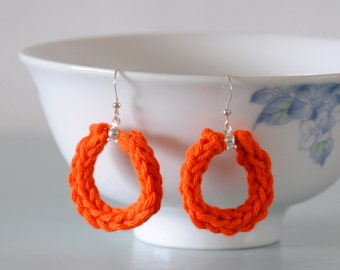 Orange Knitted Earrings - Pumpkin Silver Plated Cotton Hoop Earrings Colourful Jewellery Gift for Her by Emma Dickie Design