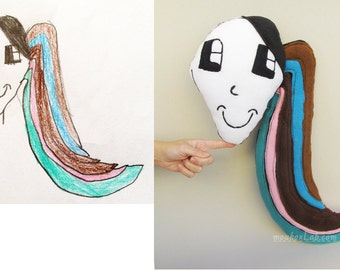 Plush made from your kid's drawing Custom made toy Personalized present - MADE TO ORDER