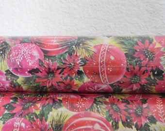 vintage pink christmas giftwrapping paper / large jumbo size wrapping paper sheets / ornaments