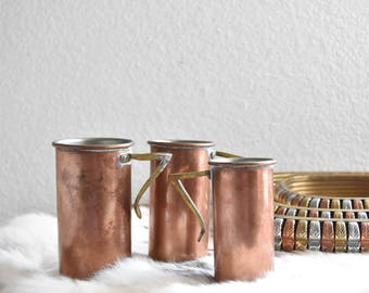 rustic copper tumblers cups / shot glass / vases / set of 3