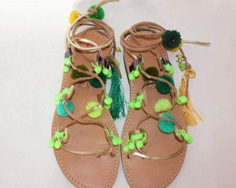 Womens Sandals, Leather Sandals,  Flat Sandals, Leather Flat Sandals, Woven Shoes, Summer Shoes fluo green