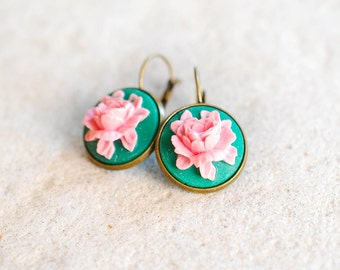 Emerald Green Pink Rose Cameo Earrings Vintage Style Leverback Lever Back Bezel Dangle Earrings Floral Cameo Jewelry Gift for Women her wife