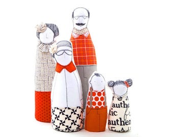Family portrait dolls , figure doll family  , Handmade decor doll , soft figurine , Character dolls , mini-me stuffed doll , likeness dolls