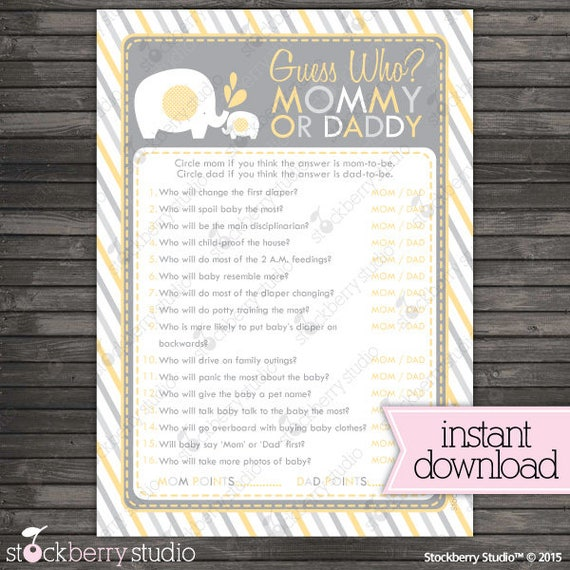 Yellow Elephant Baby Shower Guess Who Mommy Or Daddy Game Instant