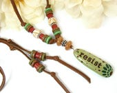 RESERVED: Resist Necklace, Resist Word Leather Necklace, Beaded Resistance Jewelry, Inspirational, Word Jewelry, Handmade, Greek Beads