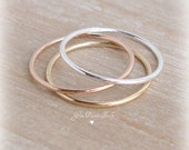 Thin Stacking Rings, Sterling Silver Ring, 14k Gold Filled Ring, Rose Gold Filled Ring, Smooth Stacking Rings, 18 Gauge 1mm, Delicate Skinny