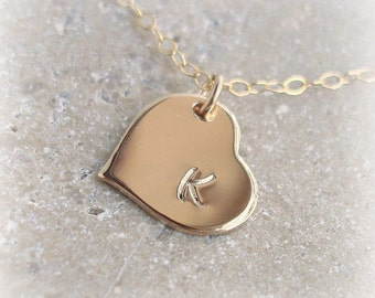 Gold Heart Necklace, 14k Gold Filled, Personalized Initial Necklace, Sideways Heart, Custom Hand Stamped, Choose initials/Font, Gift of Love