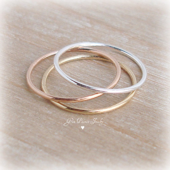 thin stacking rings sterling silver ring 14k gold filled