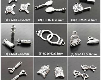 10 Mix Charm 3D Pendant  Antiqued Silver C-352