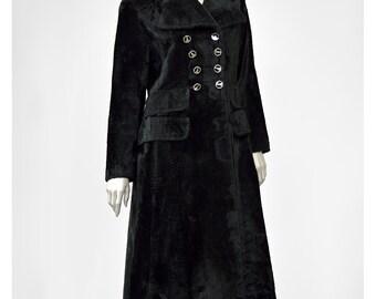 Vintage Black Faux Fur Coat 60s Mod Coat Double Breasted Coat Vegan Fur Pea Coat 1960s Coat Made in Paris Long Black Coat
