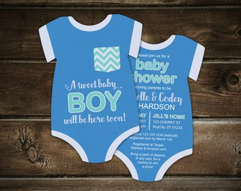 10 Baby Boy Shower Invitations, pocket tshirt invitation, bodysuit invitation, baby blue invite, Die Cut shaped, Double sided in any colors
