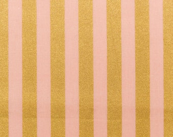 Gold Printed Stripes Fabric Pink by Rico Design Germany