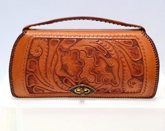 Tooled Leather Bag Vintage Floral Clutch Style Purse Rockabilly Western 1950s 1960s Whipstitch Flower Design Cowgirl