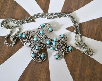 1960s Silver Filigree Fleur de Lis Pendant and Chain Necklace