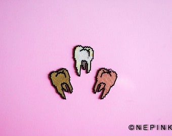 Tooth Fairy Pendant/Neclace.Dental Art.Art jewelry.Pixel art.Body parts.Doctor.Dentist.Dental Hygienist.Contemporary Gypsy Jewelry/Beadwork