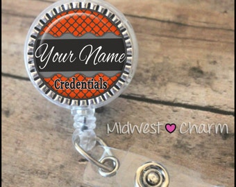Orange/Charcoal..Personalized retractable badge reel pinch...nurse.labor and delivery..lpn..rn..md..id holder..lanyard..bottlecap jewelry