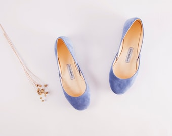 The Suede Ballet Flats in Dark Sky Blue | My Something Blue