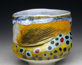 New Trophy Trout Yunomi Hand made  (Brown Trout) One of a Kind Fishing Cup Japan