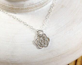 Rose Necklace, Sterling Silver Rose Necklace, Tiny Rose Charm Necklace, Sterling Silver Tiny Rose Necklace, Tiny Rose Necklace, Flower charm