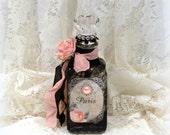 Decorated Glass Bottle, Altered Bottle, Decorated Bottle, Paris Label Bottle, French Decor, Paris Chic Decor, Paris Inspired Decor