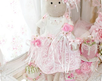Pink Princess Bridal Bella Grace Bunny  Shabby Chic Victorian Bunny Rabbit Rose Easter Bridal Doll White French Lace