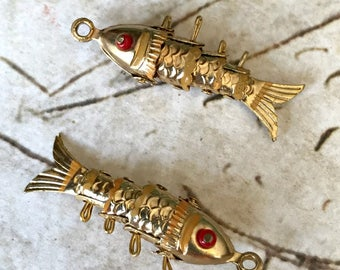 2 - Vintage Articulated Fish / DIY Jewelry / Rescued Charm Drops / CIRCA 1970s (A1)