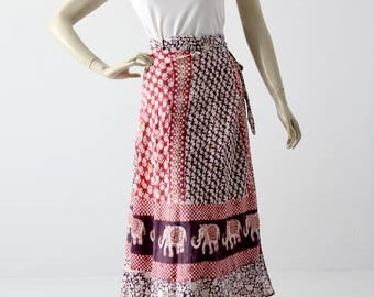 vintage wrap skirt, 1970s India cotton block print wrap skirt or dress