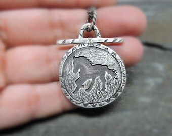 Running Horse Necklace, Sterling Silver Necklace, Wildflowers, Made in New Hampshire, Wild Horse Totem, Horse Talisman, Equine Jewelry