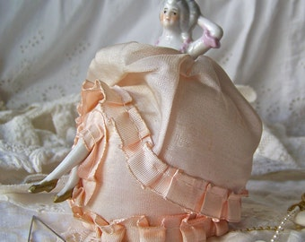 Vintage Pin Cushion Doll with Legs Porcelain Half Doll Pink Silk Vanity Display Wedding Gift Bridal Shower Vintage 1940s