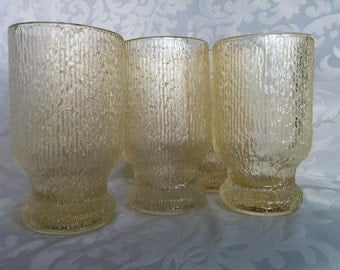 Set of 6 Clear Tumblers, Set of 5 Striated Water Glasses, Set of Vintage Clear Textures Drinking Glasses, Water Glasses