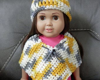 Crochet Doll Poncho and Hat Set, Clothes for 18 inch Dolls,  American Girl Doll