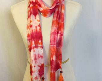 """Silk hand dyed skinny scarf with tassels 5.5"""" X 72"""" long Orange and Red"""