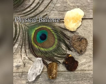 Physical Balance Crystal Healing Set - 5 Stone Gift Set Comes with Tag & In Gift Bag