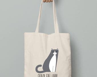 Personalized canvas tote bag, cat canvas tote bag, crazy cat lady tote, cat lover gift