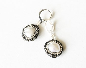 Silver Pave Crystal Pearl Earrings