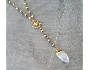 Gold Pyrite & Moonstone Arrowhead Lariat Necklace