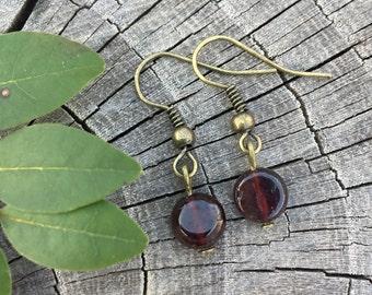 Small Garnet Gemstones . Earrings