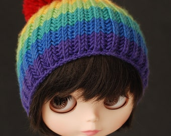 Rainbow with red pompom- knitted hat for Blythe