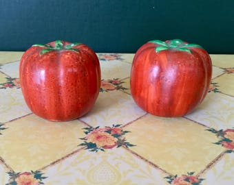 Salt and Pepper Shakers - vintage TOMATO salt and pepper shakers -  1950's