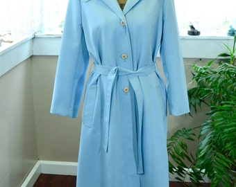 Vintage Sky Blue Womens Trench Coat Betty Rose - L