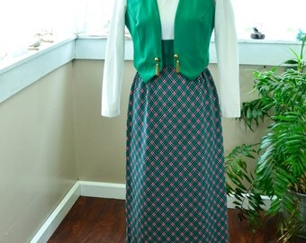 Vintage Long Sleeve Turtle Neck Green, White an Red Plaid Dress - S - M