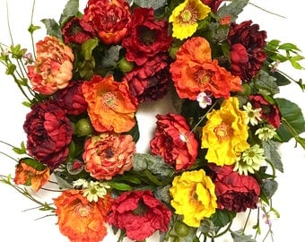 """Peonies and Poppies Silk Floral Indoor Outdoor Wreath Red Orange Yellow Spring Wreath Summer Wreath Fall Wreath Large Approx. 28"""" Tip to Tip"""