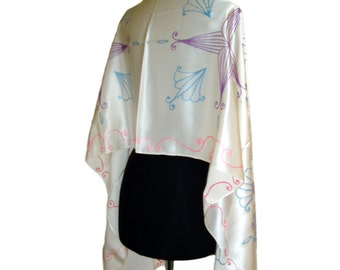 White silk shawl with hand painted design